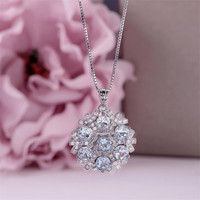 Natural Gemstone Necklaces Pendants For Women 925 Sterling Silver 5*5mm Topaz Blue Round Necklace White Gold Plated CCN005