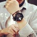 Vidro azul Big Dial Black Leather Men Quartz Relógios Fashion & Casual Relógio relógio de Pulso Militar Esportes Porta Para Fora relojio H07