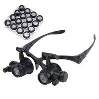2.5X 4X 6X 8X 10X 15X 20X 25X Multi-Power Beleuchtet lupe Brillen Uhrmacher Lupe Juwelier Lupe mit LED