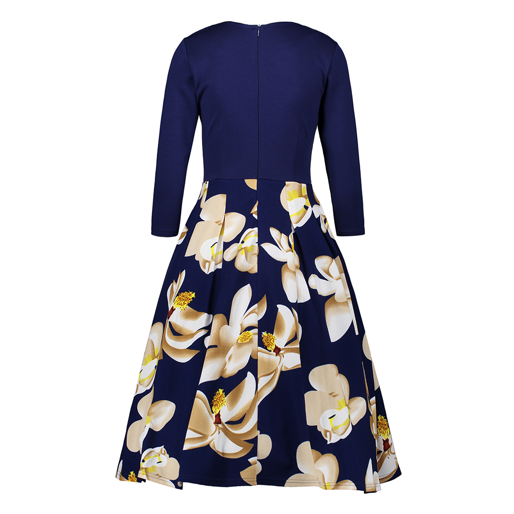 FEIBUSHI Womens Elegant Vintage Summer Dress Print Belted Tunic Pinup Patchwork Work Office Casual Party A Line Skater Dress in Dresses from Women 39 s Clothing