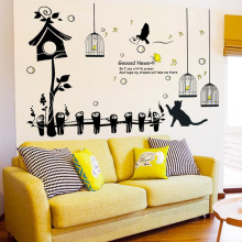 Cats and Birdcage Wall Stickers Vinyl DIY Creativity Fence hut Decals For Living Room Kids Home Decor Murals
