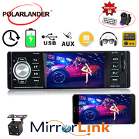 1 Din Car Radio Bluetooth 4.1 WithRearview camera MP4/MP3/MP5 Player Stereo Support TF SD USB MMC Aux in 1080P HD DC Remote co