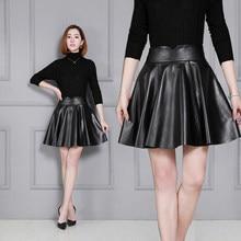 Nueva falda de piel de oveja falda de cuero plisado K55 para mujer
