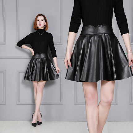 Women New Sheepskin Skirt Pleated Leather K55