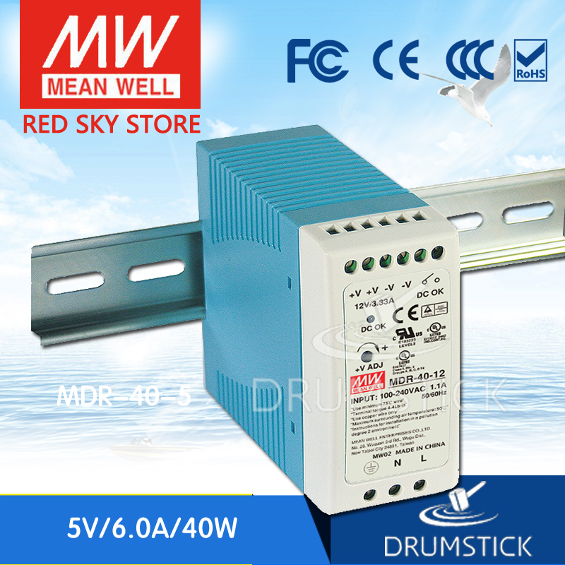 Genuine MEAN WELL MDR-40-5 5V 6A meanwell MDR-40 5V 30W Single Output Industrial DIN Rail Power Supply [freeshiping 12pcs] mean well original mdr 40 24 24v 0 83a meanwell mdr 40 39 8w single output industrial din rail power supply