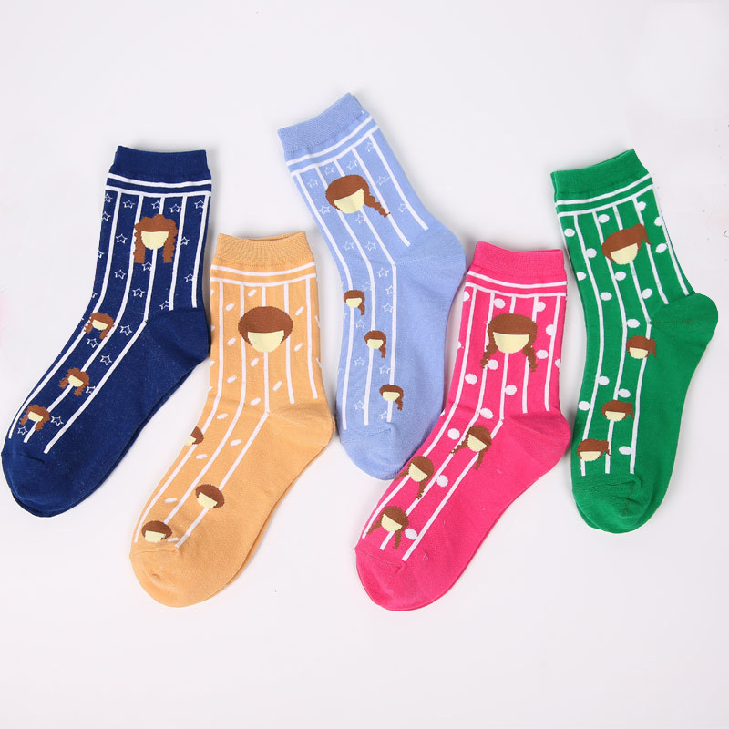 New Korean Style Winter Girl Head Face Printing Striped Cotton Women Socks Funny Candy Colors Creative Novelty Socks