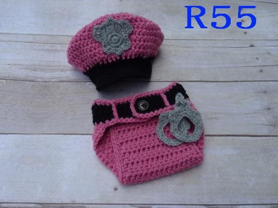 Free Shipping Baby Photo Prop Handmade Infant Newborn Police Hat