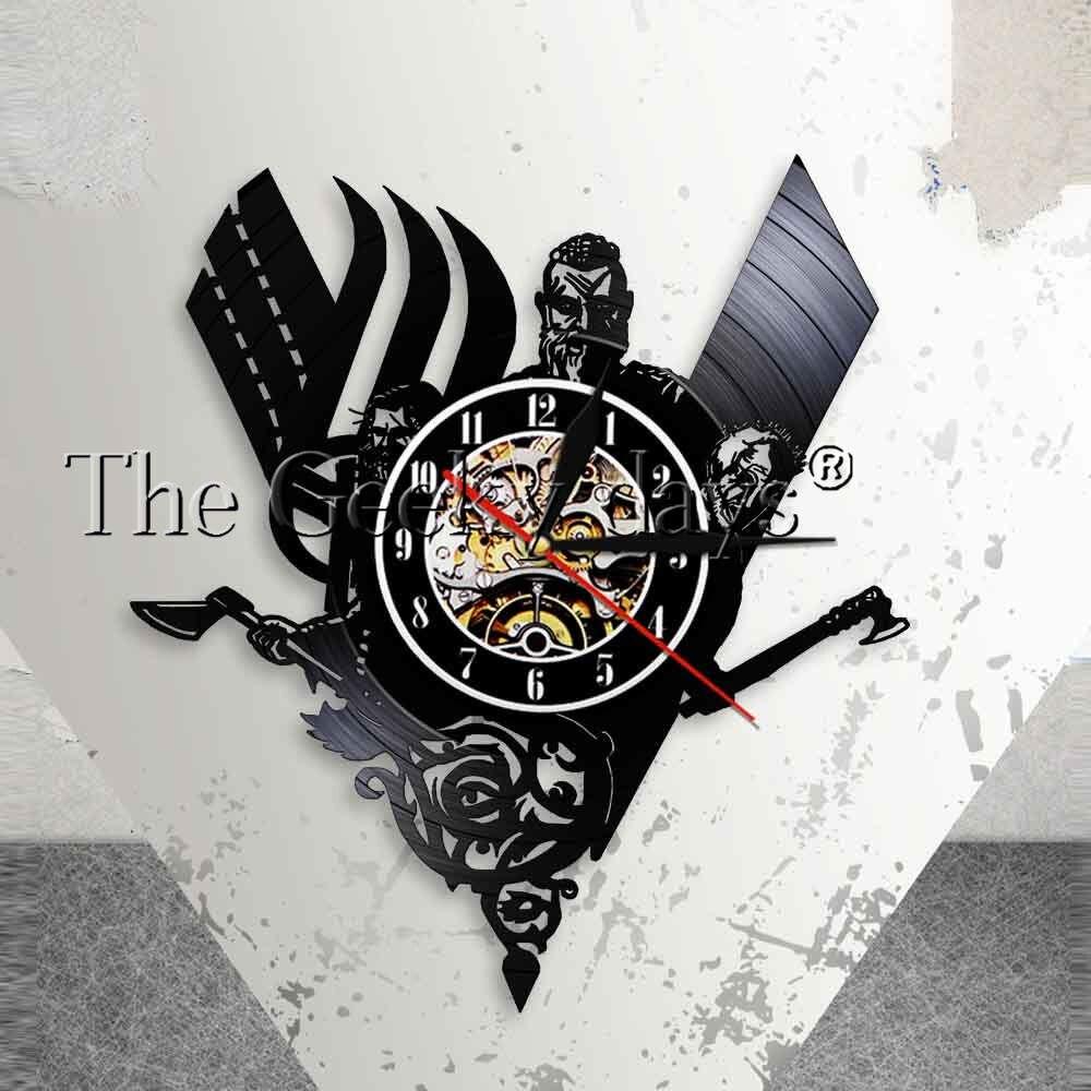 1piece Viking Wall Clock Watch Black Hanging Vinyl Record Wall Clock