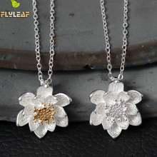 Женское ожерелье из серебра 925 пробы с цветком лотоса