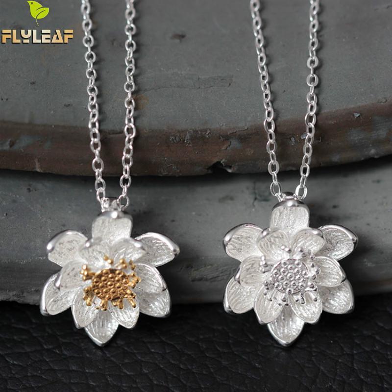 """Dviejų spalvų skraidančių lotosų gėlių karoliai ir pakabukai """"Flyleaf"""", skirti mados ponia moterims, saugančioms nuo alergijos. 925 Sidabriniai papuošalai"""