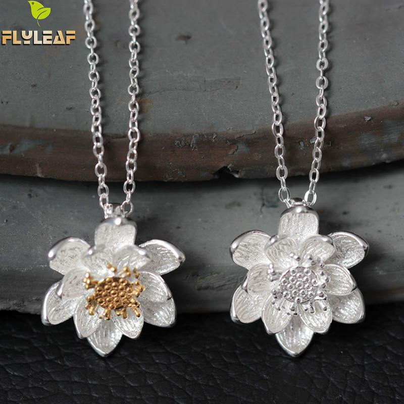 Flyleaf Hand Colors Double Lotus Lotus Flower & Pendants For Women Moda Zonja Parandalon Alergjinë 925 Sterling-argjend-bizhuteri