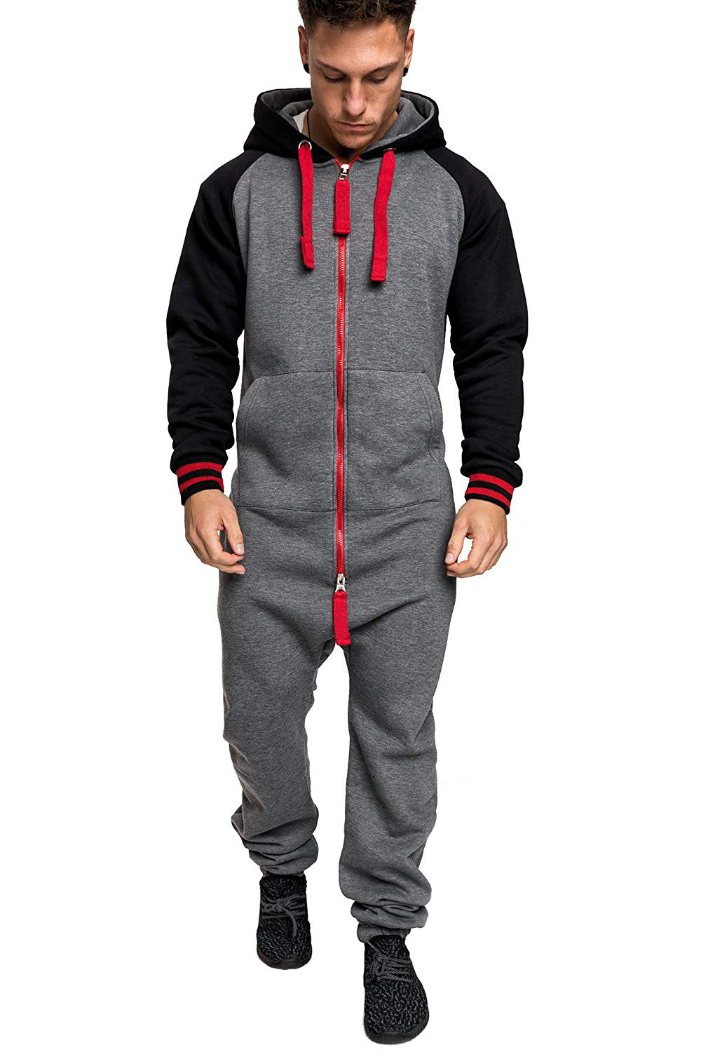Casual Autumn Hooded Tracksuit Jumpsuit Long Pants Romper For Male Mens Fleece warm Overalls Sweatshirts Male Streetwear X9126 25