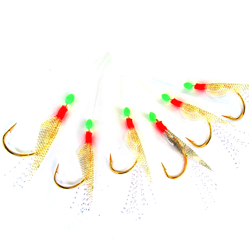 [5 Sets] 6 Jumpers Golden Hook Whiting Sabiki Saltwater Fishing Flash Bait Rig Fish Skin Flies Size 8 10 12 14 16 18 20 22 24 jumpers inflatable