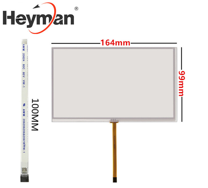 Pantalla resistente Heyman de 7 pulgadas 165mm * 100mm 165*100 original, panel de pantalla táctil GPS para navegación DVD para coche