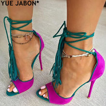 a1ebca18014 Mujeres Chic fucsia Suede Fringe sandalias concisa Ultra tacones altos  borla Zapatos rosa rojo amarillo Cruz