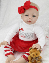22″ Handmade Rooted Golden Mohair Blue Eyes Soft Baby Born Girl Dolls Girls Toys Silicone Vinyl Baby Dolls in Red Dress