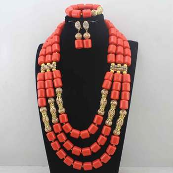 Artificial Coral Beads Indian Bridal Jewelry Set Dubai African Wedding Women Costume Necklace Set New Free Shipping E0085