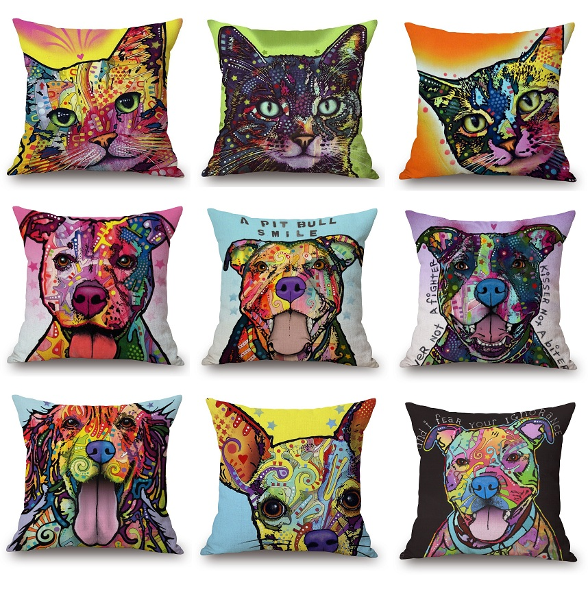 Oil Painting Dogs Cushion Covers Colour Chihuahua Bull Terrier Pit Bull Dog Cat Pillow Cover Sofa Decorative Linen Pillow Case cushion