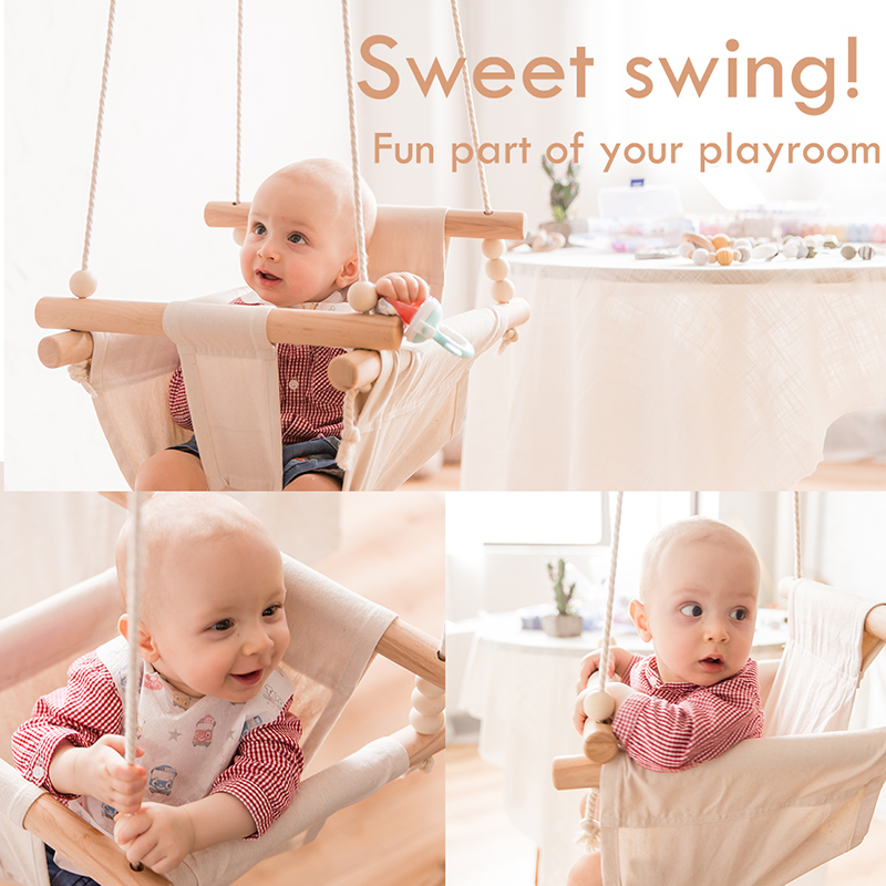 Baby Safety Swing Chair Hanging Swings Baby Toys Children Rocking Canvas Seat 0-12 Months Infant Outdoor Inside Room Decorations