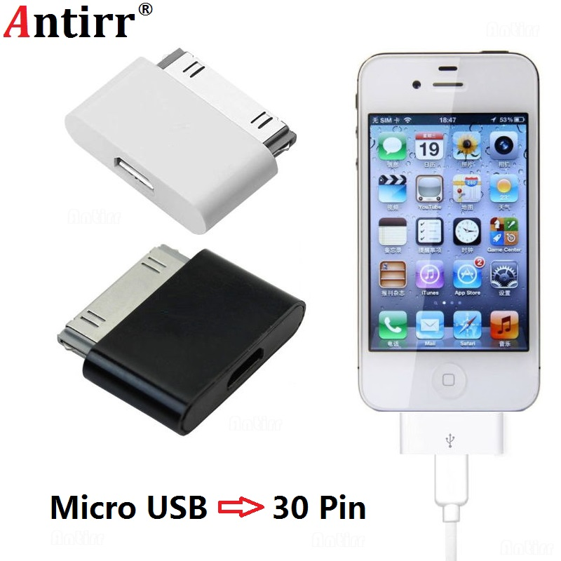 Micro USB Cable To 30 Pin Adapter Converter Android Phone 30pin Connector Data Sync Charger For IPhone 4 4s 4G 3GS For IPad IPod