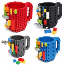 Купить с кэшбэком 350ml Creative Milk Mug Coffee Cup Creative Build-on Brick Mug Cups Drink Water Holder For LEGO Building Blocks
