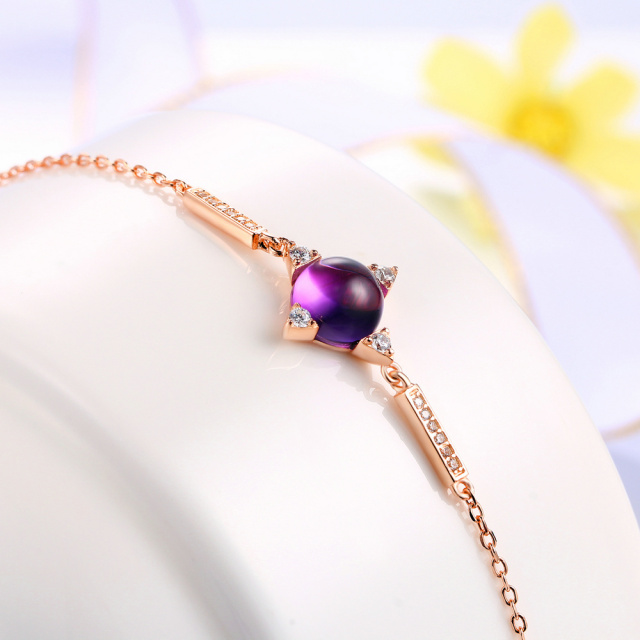 MoBuy MBHI009 Trendy Cabochon Gemstone Amethyst Star Bracelets $ Bangles 925 Sterling-Silver-Jewelry Rose Gold Plated For Women