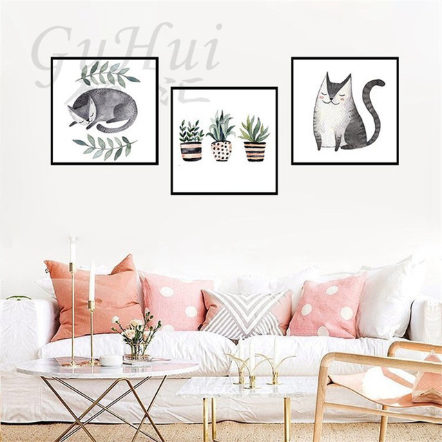 Nordic Modern Hitam Putih Sketsa Tanaman Pot Lucu Kucing Hewan
