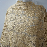 1 Yard!The unique guipure gold lace fabric allover floral water soluble chemical lace hollow out lace for elegant dresses NEW