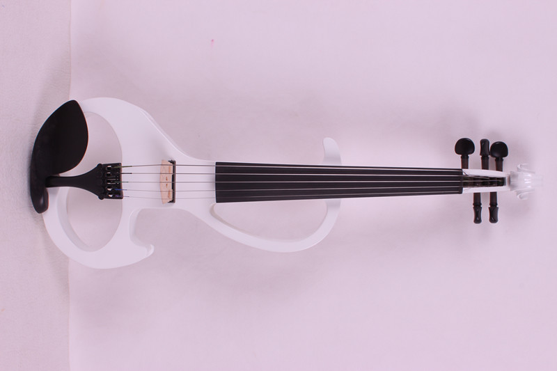 4/4 New 5 string Electric Acoustic Violin Solid Wood Nice Sound white   color 4 4 electric violin infinite brand paten pick up nice