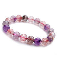 9.5mm Genuine Natural Super Seven 7 Bracelet Fashion Jewelry Multi Colors Mix Crystal Stretch Round Bead Melody Stone Bracelets