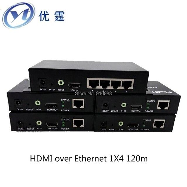 Бесплатная ship1x4 hdmi splitter кабель cat5e/6 extender 100 М HDMI over Ethernet 395ft продлить приемопередатчик