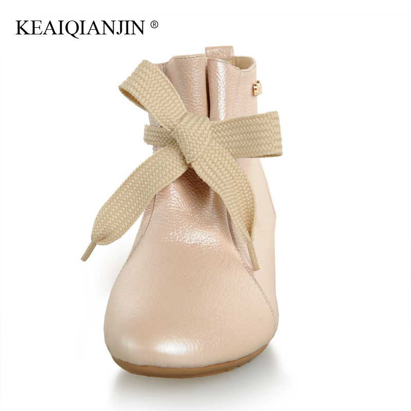 KEAIQIANJIN Woman Platform Ankle Boots Autumn Winter Genuine Leather Martins Bota Black White Lace Up Oxford Chelsea Boots Cheap