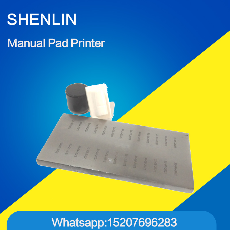 Manual pad printer, manual pad printing machine, logo printer, manual coding, engraved plate, Silicone pad, ink, thinner, cup electric pad printing machine with close ink cup for printing expire date