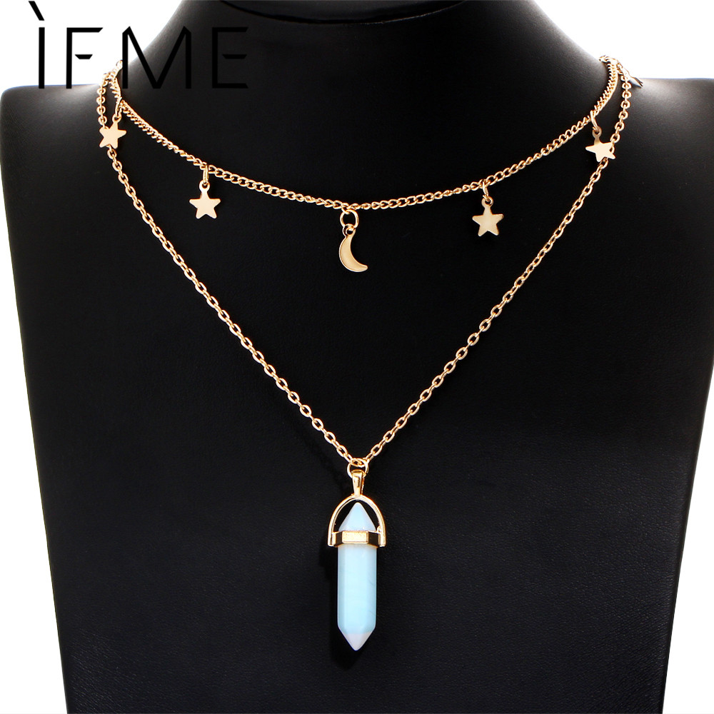 IF ME Fashion Natural Opal Stone Moon Star Choker ns