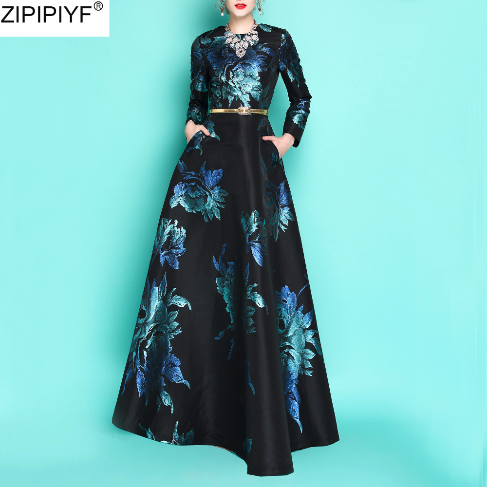 2018 new autumn fashion embroidery vintage floor-length dress women o-neck long sleeve casual slim winter vestidos C3231