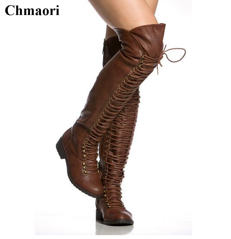 Women Winter New Fashion Round Toe Black Brown Lace-up Flat Boots High Quality Over Knee Flat Boots Long Leather Boots taomengsi women s boots brown and brown plus velvet thickening martin boots front strap lace up round toe ladies boots