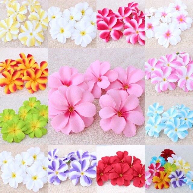 50 piezas Plumeria hawaiana Frangipani Artificial pelusa cabezas de flores para Hairwear decoración de fiesta de boda