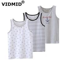 Sleeveless Kids Tanks T-Shirt cotton Boys Children Beach-Clothes Baby Cartoon Vest VIDMID