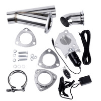 3 Size Stainless Steel Headers Y Pipe Electric Exhaust CutOut Kit With Remote Control