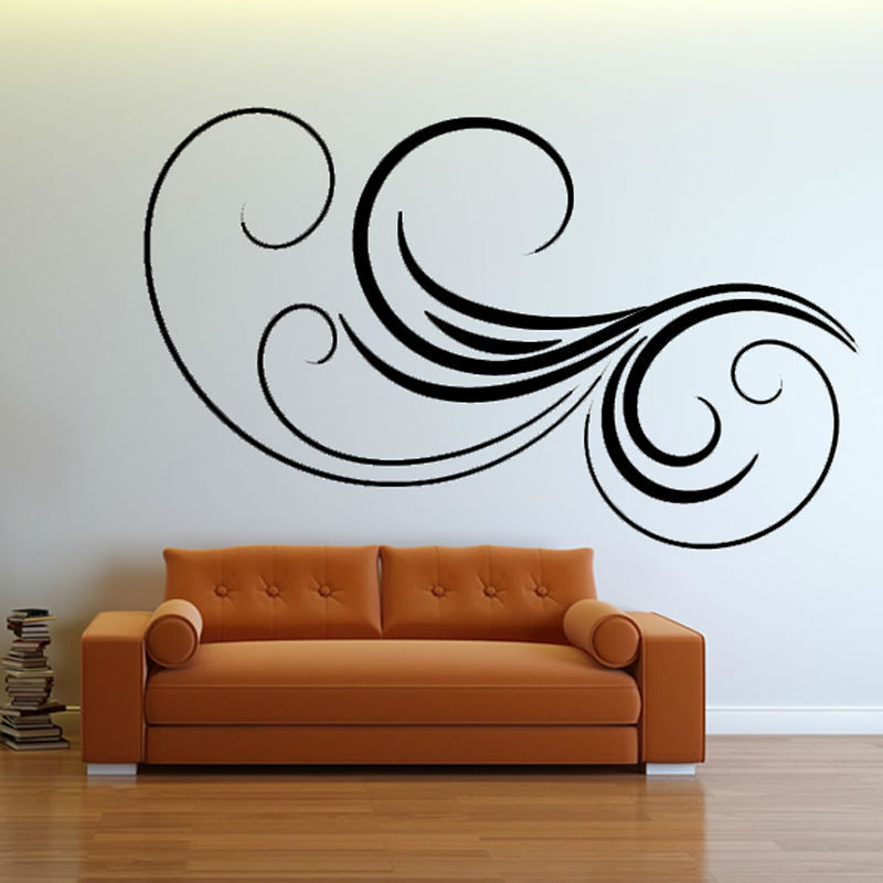 Wave Flower Black Wall Sticker Living Room Decorative Removable Vinyl Art Home  Decor DIY Item(