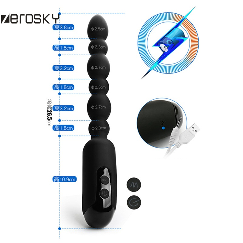 Zerosky Usb Charging Anal Beads Plug Vibrator Wireless Remote Control Butt Plug G Spot -9858