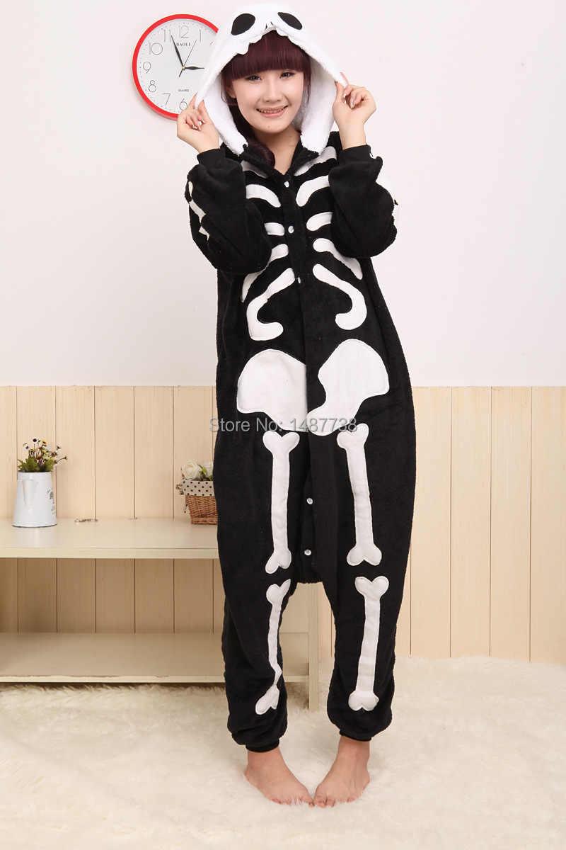 Кигуруми новый унисекс для взрослых животных Скелет Череп Onesie пижамы  Косплей Костюм пижамы 21797ed4c6228