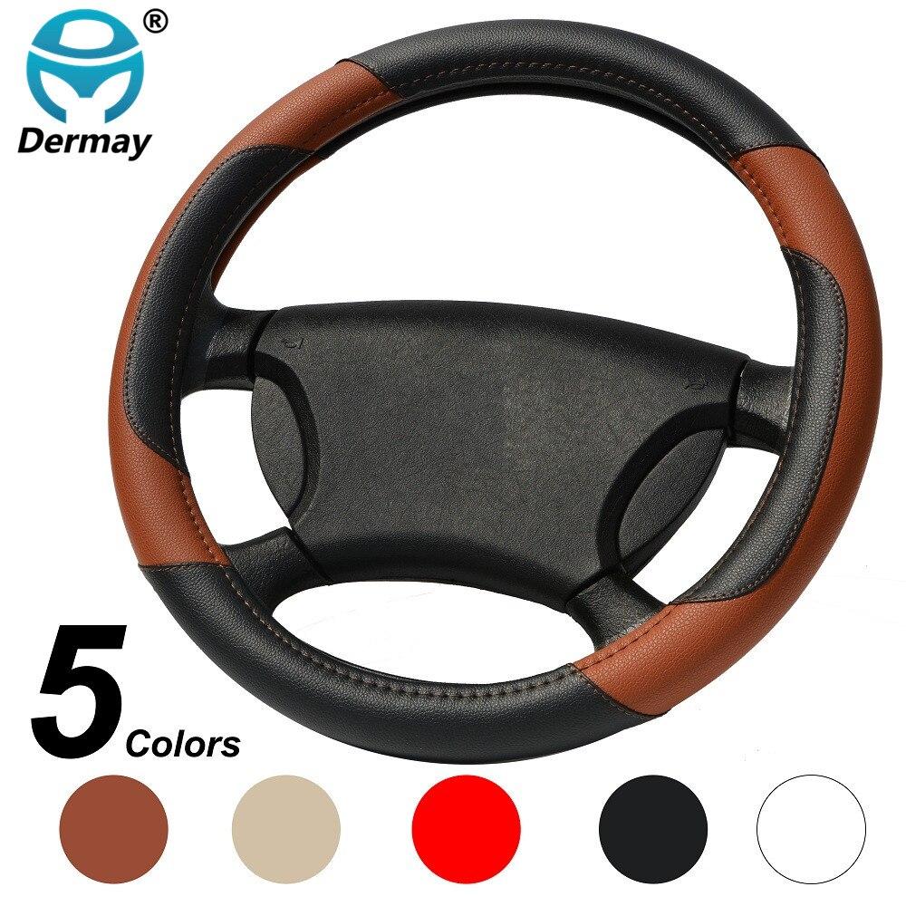 DERMAY Car Steering Wheel Cover Micro Fiber Leather M size Fit Kia ford vw peugeot lada skoda etc. Outer Diam 37-38.5cm wheel
