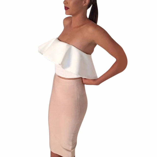 93ed062eee 2PCS Women Ladies Sexy Strapless Ruffle Crop Top Pencil Skirt Bandage  Bodycon Party Dresses-in Women's Sets from Women's Clothing on  Aliexpress.com ...