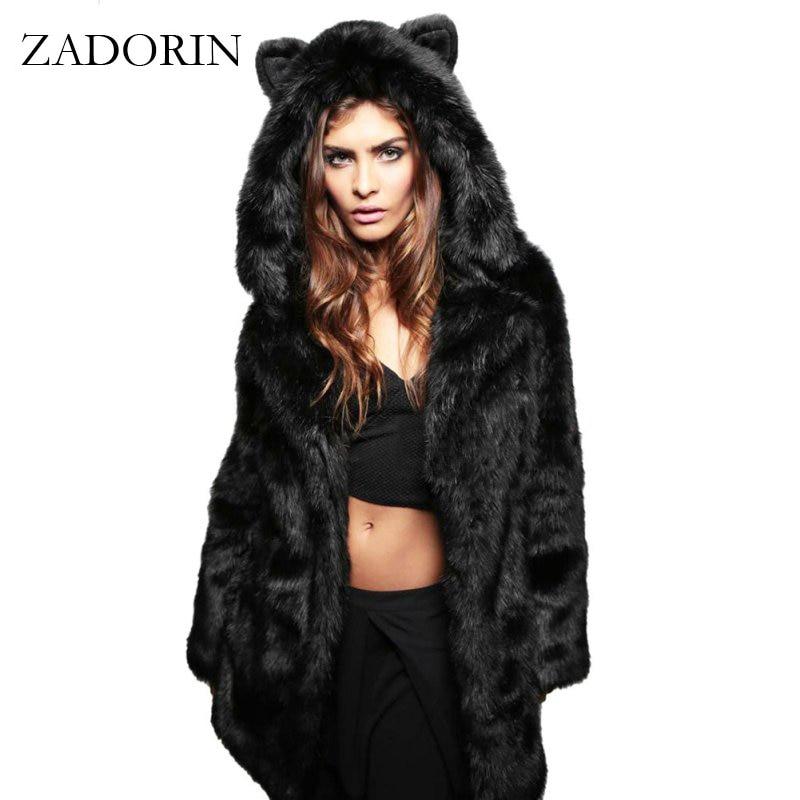 ZADORIN Fashion Winter Women Faux Fox Fur Coat Hooded With Cat Ears Thick Warm Long Sleeve Black Fake Fur Jacket gilet fourrure