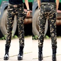 Annual Popular Camouflage Slim Elastic Women Pants Women's Army Cargo Pencil Pant Haoduoyi Uniform Womens Trousers Free Shipping