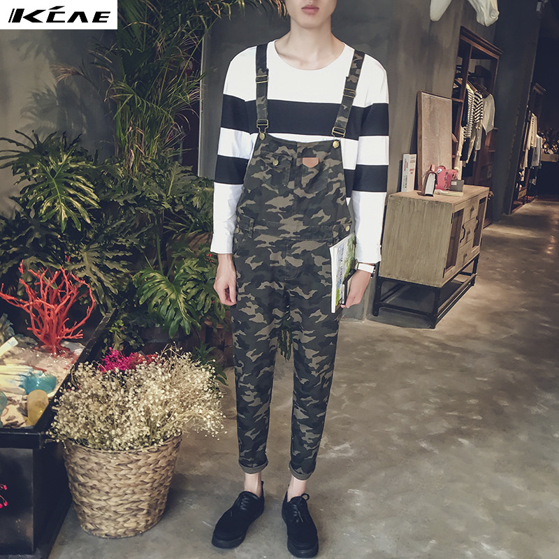 2016 New Men's slim Camouflage length jeans Male casual denim bib overalls Jumpsuits for man high quality Plus Size 2016 new men s casual pocket blue denim overalls slim jumpsuits pants ripped jeans for man plus size 28 34