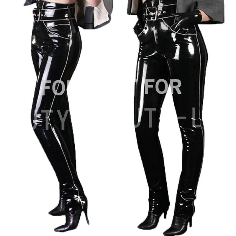 Латексные брюки для женщин, соблазнительные экзотические Брюки Капри на молнии, большие размеры, 100% натуральная ручная работа