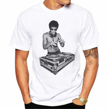 T Shirt Men Hip Hop DJ Bruce Lee Men T-Shirt Short Sleeve Casual Tops Hipster Streetwear Print Male Fashion T Shirts Funny Tees(China)