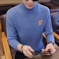 2018 新冬のファッションのセーター男性タートルネック厚手プルオーバー男性カジュアルプリント男性クリスマスセーター保温プルオム
